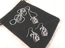 Cristales Austriacos 18k Oro Blanco Plateado Ardilla Collar Y Aretes