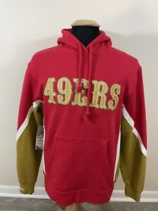 NEW NWT San Francisco 49ers Mitchell And Ness Pullover Hoodie Medium Mens Red