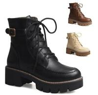 Women's Med Chunky Heels High Top Fashion Motorcycle Lace up Ankle Martin Boots