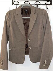 Ann Taylor Lined Tan 2- Button Long Sleeve Womens Dress Blazer Jacket 2 Petite