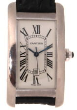 Authentic Cartier 2490 American Tank Midsize Watch 18k White Gold