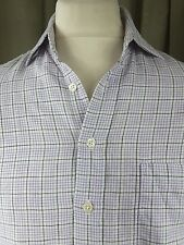 "Boden 100% Linen White Lilac Black Check Shirt 15"" EXCELLENT CONDITION"