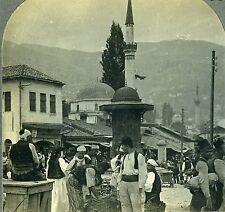 Stereoview Photo Natives Market Place Sarajevo Bosnia Austria-Hungary Keystone