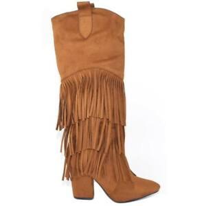 Stivali donna texani camperos in camoscio cuoio con frange lunghe e tacco wester