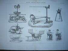GRAVURE 1880 MATÉRIEL PROCÉDÉS AGRICULTURE MANÈGES VÉHICULES MEULES A AIGUISER