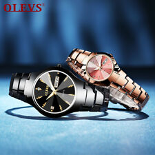 OLEVS Women Men Waterproof Tungsten Steel Quartz Wristwatch Casual Couples Watch