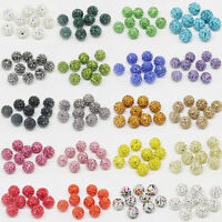 50Pcs Crystal Pave Clay Disco Ball Spacer Loose Spacer Beads Jewelry Making 10MM