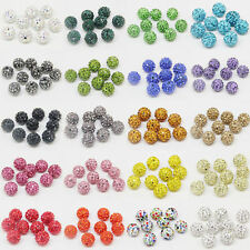 50Pcs Crystal Rhinestone Pave Clay Disco Ball Loose Spacer Beads Making DIY 10MM