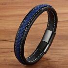 Bracelet homme femme en acier inoxydable et cuir noir et bleu 19/21/23 cm