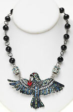 KIRKS FOLLY NEVER MORE RAVEN BEADED DOUBLE MAGNETIC ENHANCER NECKLACE silvertone