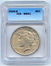 1924-S $1 Peace Silver Dollar. ICG Graded MS 61. Lot #2690