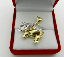 Real 14k Multi-Tone GOLD Elephant with Baby 2D Charm Pendant movable parts 9 gr