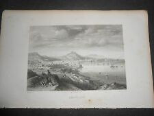1863 STEEL ENGRAVING VIEW OF BARCELONA ENGRAVER ROUARGUE FRERES SPAIN