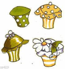 "2.5"" Fancy loralie cupcake set  fabric applique iron on"