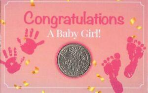Congratulations A Baby Girl New Born Lucky Sixpence Coin Keepsake Christening