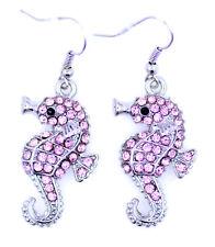Pendientes colgantes de caballito de mar de cristal rosa