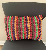 Pier 1 Imports Multi Color Wool Poms Striped Pattern Decorative Pillow 18x13