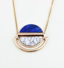 lapis lazuli Turquoise 18K Gold Plated Pendant long Necklace