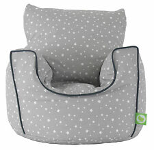 Cotton Grey Stars Bean Bag Arm Chair with Beans Toddler Size From Bean Lazy