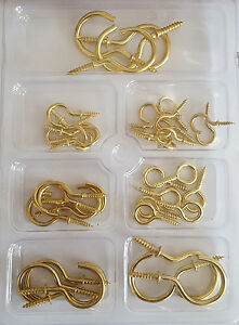 New Brass Shouldered Cup Closed Hook Screws Various Sizes 50mm,45mm, 40mm, 30mm