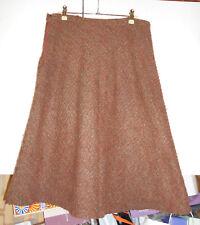 Jupe femme T44 forme trapèze, doublée couleur marron clair, orange, vert, laine