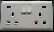 glossy white double socket usb 13a 2 gang electric wall plug with 2 usb outlets