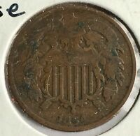 1864 Two Cent Piece Cival War Era XF Strong Details