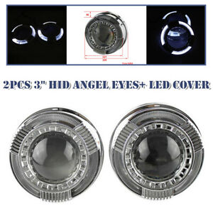 3-inch Lens Car Round LED Headlight Angel Eye Projector Lamps Lampshade Protect