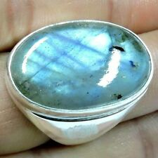 Natural Blue Labradorite 100.00Cts Silver Overlay Handmade Heavy Ring US Size 9