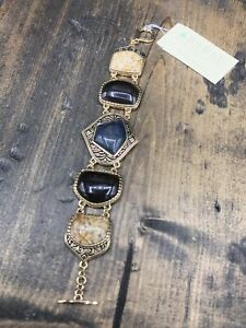 Barse Bungalow Toggle Bracelet- Mixed Stones- Bronze- New With Tags