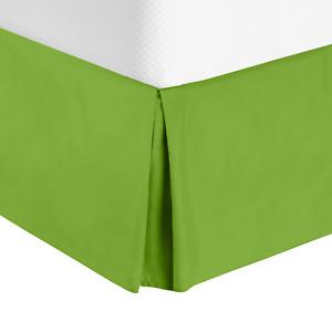 "Luxury Pleated Tailored Bed Skirt - 14"" Drop Dust Ruffle, Full XL - Garden Green"