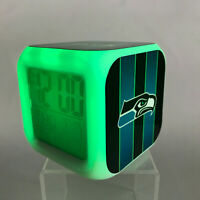 Seattle Seahawks NFL LED Digital Alarm Clock Watch Lamp Gift Russell Wilson