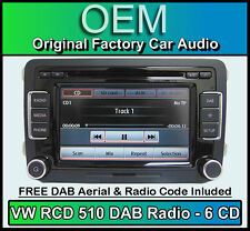 VW Caddy DAB car stereo, RCD 510 DAB radio 6 CD changer, touchscreen SD card