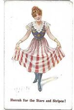 Patriotic Greeting Postcard E Mack J Salmon 1422 Flag Skirt Stars and Stripes