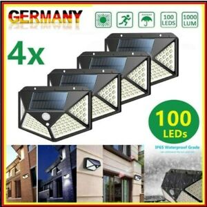 4pcs LED Solarlampe Solarleuchte Mit Bewegungsmelder Sensor Strahler Gartenlampe