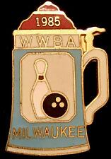 Vintage 1985 Beer Stein Milwaukee Wwba Bowling Lapel Pin