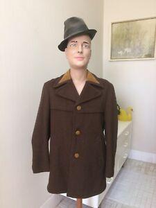 Original Vintage Men's 60s 70s Coat Jacket , Pure Wool , Retro Coat Windbreaker