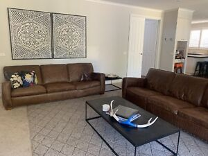 2x Freedom Furniture Brown 3 seater leather couch Lounge