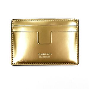 NWT $290 TOM FORD Men's Metallic Gold Leather Card Holder Case Wallet AUTHENTIC