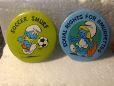 Soccer Smurf & Equal Rights For Smurfettes Collectible Button Pin Set pin3220