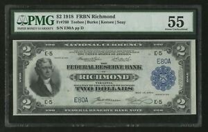 FR760 $2 1918 FRBN BATTLESHIP NOTE 2-DIGIT #E80A RARE ONLY 77 RECORDED WLM9661