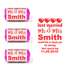 100 CUSTOM PERSONALISED RED WEDDING FAVOUR LOVE HEART SWEET STICKERS LABELS