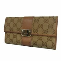 Auth GUCCI Logos GG Canvas Leather Bifold Long Wallet Purse Italy F/S 18917bkac
