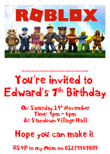 personalised card photo paper birthday party invites invitations ROBLOX