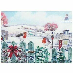Macneil Christmas Robins Winter Scene Glass Cutting Board Chopping Board