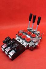 NEW HYDRAULIC BANK MOTOR 3 SPOOL VALVE 60 l/min  12V + LEVER  GALTECH LOADER