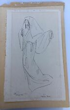 1954 Minimalist Traditional Noh Dancer Pen and Ink Drawing, Signed - Dated