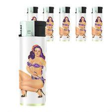 Butane Refillable Electronic Gas Lighter Set of 5 Pin Up Girl D11 Bikini Model