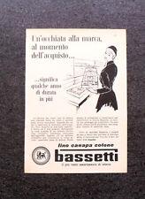 L672- Advertising Pubblicità -1960- BASSETTI TELIERE , LINO CANAPA COTONE