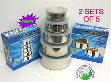 CONTAINERS CANISTER SET OF 5 W/ LIDS NEW  STAINLESS STEEL  KITCHEN  (2 sets)